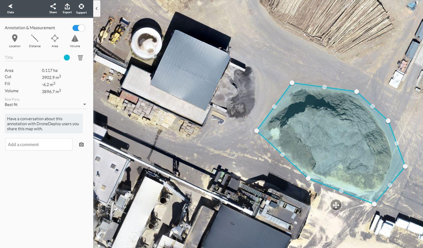Oppervlakte dak opmeten drone
